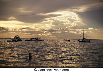 Boats at Sunset in Costa Rica