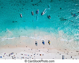 Boats at the beach in Tulum Mexico aerial view