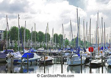 Boats at the marina Huizen. Netherlands