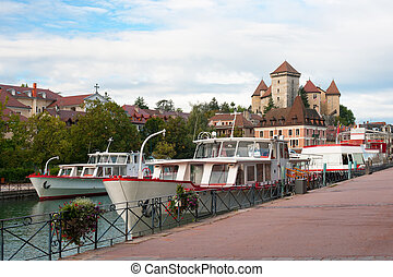 Boats at the pier in Annecy - Sightseeing boats at the pier...