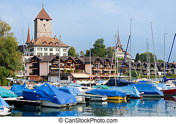 Boats at the pier of Spiez