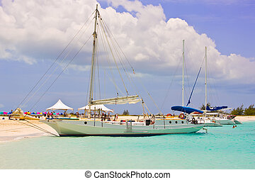 Boats at Turks and Caicos deserted beach - Caribbean Boats ...