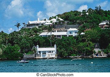 Boats Below Coastal Homes