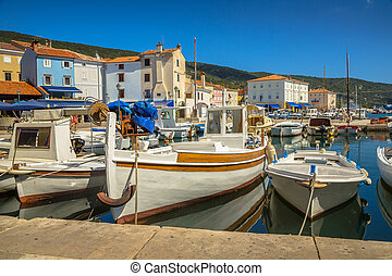 Boats Cres - Old wooden boats in Cres town on Cres Island, ...