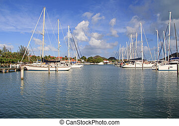 Boats Docked at Jolly Harbour Marin - Sailboats docked at...