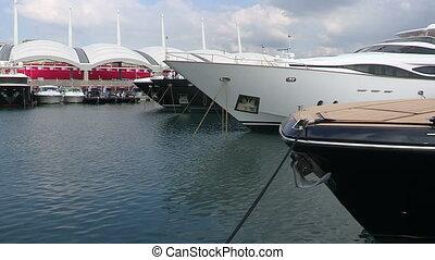 Boats docked during Genoa Boat Show