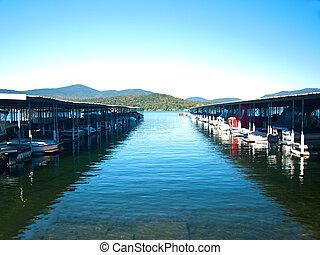 boats docked in lake placid,ny