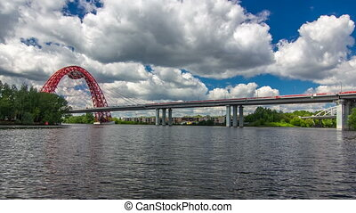 Boats floats on the Moskva River past the Zhivopisny Bridge and other famous places timelapse hyperlapse, Russia