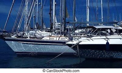 Boats in a beach yacht club on the Kos island in Greece, ...
