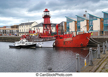 Boats in a harbour, Dundee, Scotland - Dundee harbour, Fife,...