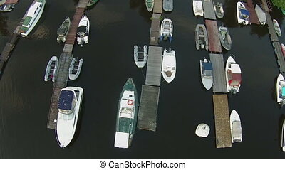 boats in a marina Aerial view