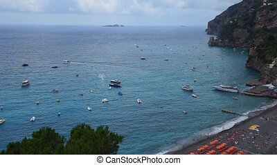 Boats in a sea - Boats in a positano seacoast footage for...
