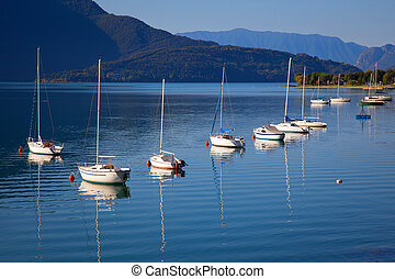 Boats in a summer day on Lake Como, Italy