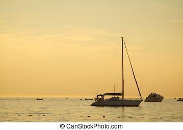 Boats in Adriatic sea - ROVINJ, CROATIA - JULY 19 : Boats ...