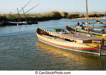 boats in Albufera, Valencia, Spain