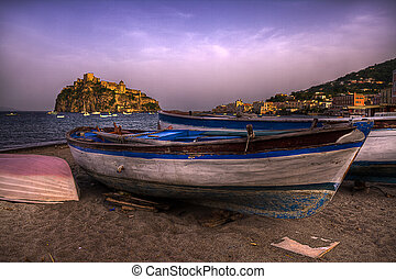 Boats in beach  Ischia Ponte Italy