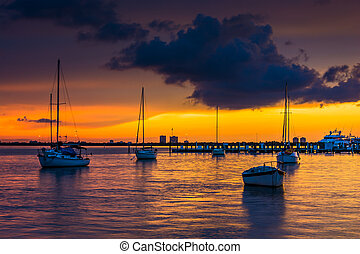 Boats in Biscayne Bay at sunset, seen from Miami Beach, ...
