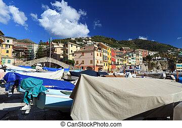 boats in Bogliasco, Italy