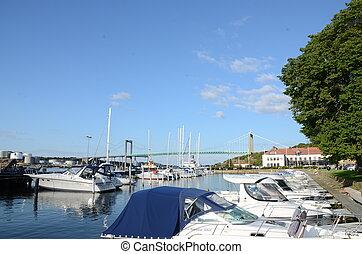 Boats parking in gothenburg in sweden