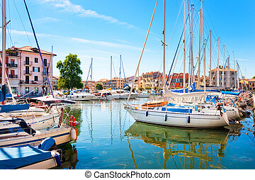 Boats in Grado, Italy - Beautiful scene of boats lying in...