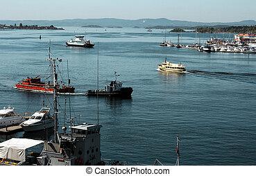 Boats in harbor in Oslo