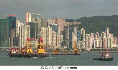 Boats in Hong Kong Harbor