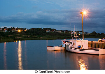 Nova Scotia - Boats in Inverness harbor, Cape Breton, Nova...