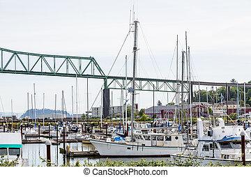 Boats in Marina Under Astoria Bridge