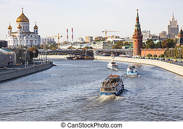 boats in Moskva River, Kremlin and Cathedral