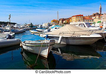 boats in old Istrian town in Novigrad, Croatia.
