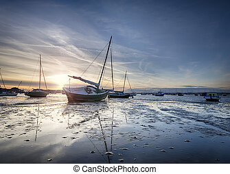 Poole Harbour - Boats in Poole Harbour at Sandbanks in...