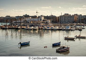 Boats in port of Bari, Italy.