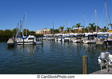 Boats in port - This is a photo of boats docked in a marina