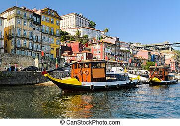 Boats on the Douro river in Porto, Portugal