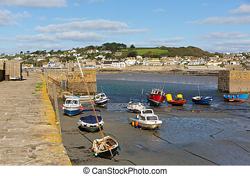 Boats in St Michaels Mount Harbour