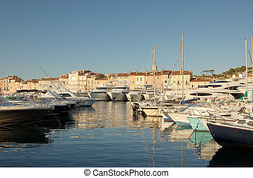 Boats in St Tropez harbour - Boats in St Tropez, France in...