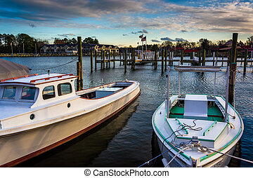 Boats in the harbor of St. Michael's, Maryland. - Boats in...