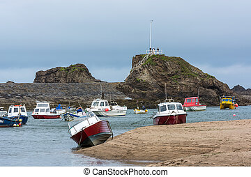 Boats in the harbour at Bude