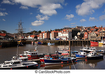 Boats in the harbour at Whitby