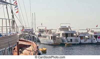 Boats in the marina - Motor boats in the port in the Red...