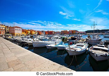 Boats in the old Istrian town, Croatia.