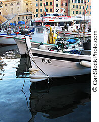 Boats in the port of Camogli, Italy