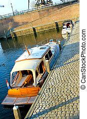Boats in the port of Heusden. Netherlands