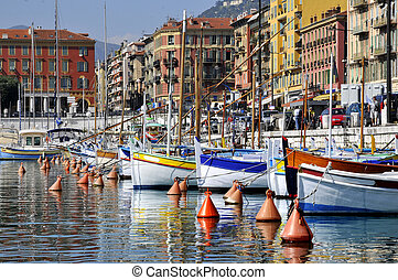 Boats in the port of Nice in France - Boats in the port of...
