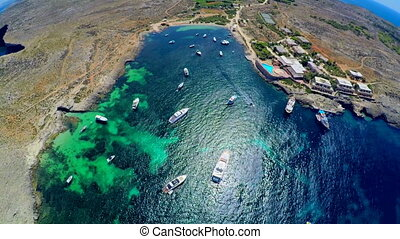 Boats in the sea . Aerial view. Malta