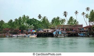 Boats moored at jetty