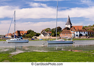 Bosham West Sussex - Boats moored at the picturesque village...