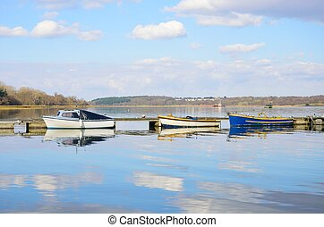 Boats Moored in Estuary