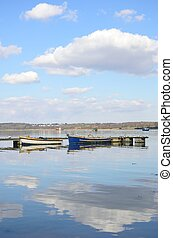 Boats moored in Estuary Suffolk