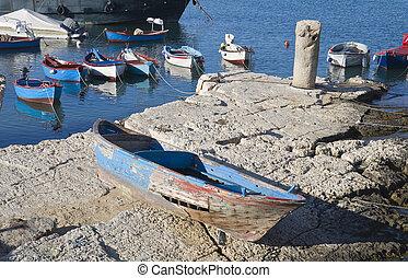 Boats moored in port. Giovinazzo. Apulia.